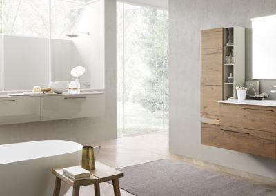 bagno moderno con mobili in legno Aosta