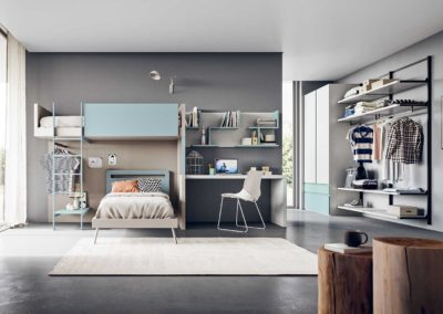 chambre d'enfant moderne lits superposés bleue Aoste