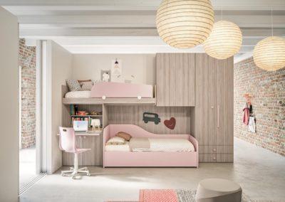 chambre d'enfant classique lits superposés rose Vallée d'Aoste