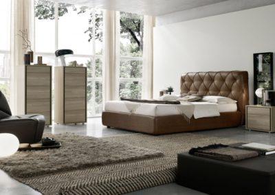 letto rivestito in pelle Aosta
